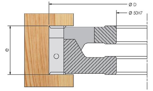 Фреза ELBE со сменными ножами для широкого паза с осевым наклоном паза